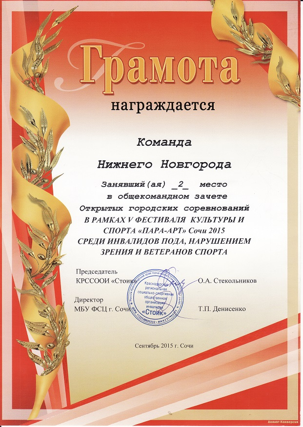 Фестиваль спорта Пара-Арт в Сочи, наша команда заняла 2 место в общекомандном зачете