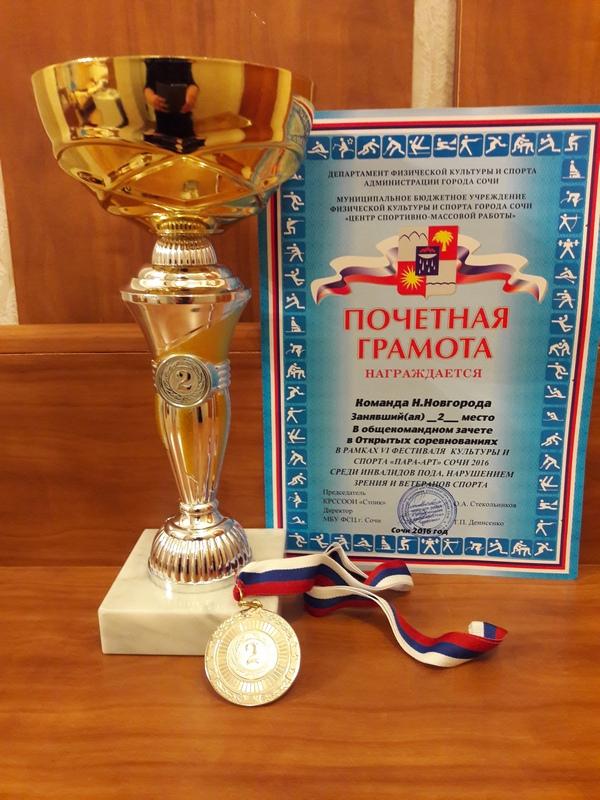 У Нижегородцев второе место в общем зачете на VI Международном фестивале культуры и спорта «ПАРА-АРТ» в г.Сочи